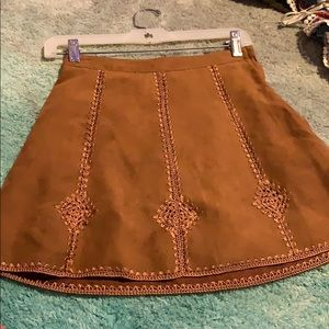 Brown suede skirt.